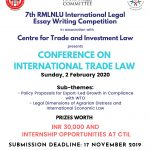 Call for Papers: RMLNLU-CTIL Conference on International Trade Law [February 02, 2020]: Submit by November 17, 2019