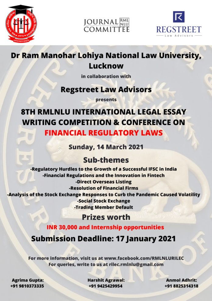 8TH RMLNLU INTERNATIONAL LEGAL ESSAY WRITING COMPETITION & CONFERENCE ON FINANCIAL REGULATORY LAWS_page-0001